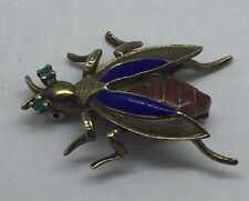 14K GOLD VINTAGE INSECT BEE PIN BROOCH EMERALD EYES ENAMEL WINGS AND BODY