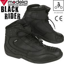 /Noir Modeka Muddy Track Bottes de moto en cuir/