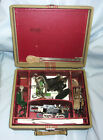 VINTAGE SINGER SEWING MACHINE ATTACHMENTS IN CASE-BUTTONHOLER, PINKING, ZIGZAG++