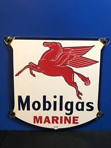 VINTAGE PORCELAIN MOBILGAS MARINE GAS AND OIL SIGN