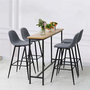 2 4 6 Modern Breakfast Bar Stool Grey Fabric with Metal Legs Home Furniture
