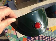 Vtg NOS jewel headlight lite visors eyebrows green painted aluminum 7inch lights