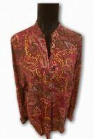 LRL Ralph Lauren Womens Blouse Multicolor Floral Long Sleeve Mandarin Collar L
