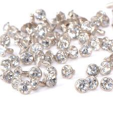 100pcs 7mm Rhinestone Silver Crystal RIVET STUDS Leather Bag Shoe PUNK