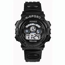 Waterproof Children Boy Digital LED Quartz Alarm Date Sports Wrist Watch Black