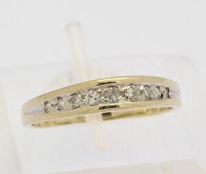 ♦♦ Ring in 14 kt 585er Gelb Gold mit 0,15 ct Diamanten Diamantring Damen Gr. 54