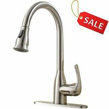 Pull Out Brushed Nickel Kitchen Faucet with Sprayer Single Handle With 10