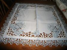 Beautiful 34 Inch Square Blue Teapot Table Topper Tablecloth