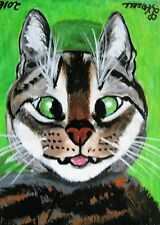 """A306 ORIGINAL ACRYLIC ACEO PAINTING BY LJH  """"CROSS EYED CAT"""""""