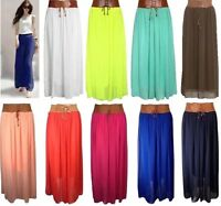 NEW WOMENS LADIES CHIFFON LONG PLEATED DETAILED BELT LINED GYPSY MAXI SKIRT 8-14