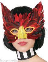 Ladies Sexy Red Black Feather Masquerade Ball Bird Eye Mask Fancy Dress Costume