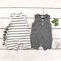 Infant Toddler Boys Girls Sleeveless Stripe Button Jumpsuit Romper Clothes