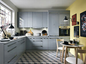 Grey high gloss kitchen units set Top Line, high quality grey gloss kitchen
