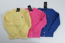 NWT Ralph Lauren Girls Mini Cable Cotton Cardigan Sweater 7 8/10 12/14 NEW $50