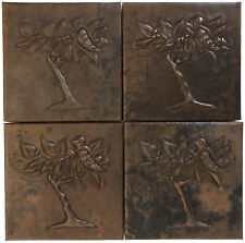 Copper Tile (TL359-4x4) Bird in Tree Design, Set of 4 *free shipping*