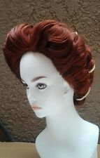 Elizabethan era renaissance custom color style wig  choice costume pearls cap