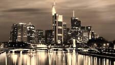 "LARGE SKYLINE CANVAS CITY SCENE MODERN MOUNTED 36""x20"""