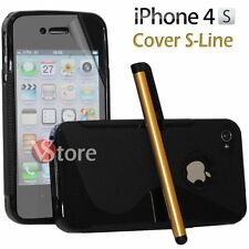 Cover Silicone Gel TPU S-Line Black for iPhone 4/4G/4S + Film Pen