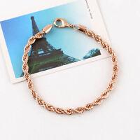 "Women's/Men's Bracelet 18K Rose Gold Filled 5MM Link 8.6"" Rope Chain"