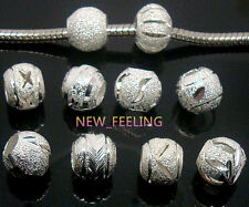 100PS Fashion mix Round Silver Plate Carved Stardust Aluminum Beads fit Bracelet