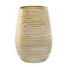 Stölzle Lausitz Olympic Twister Weiß-Gold 465 ml weiß-gold Riffeloptik