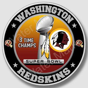 Washington Redskins Super Bowl Championship Sticker, NFL Decal 12 Differen Sizes