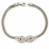 "Sterling Silver Infinity Bracelet with cz, 7"" (NEW 925, 4.9g) #3501"