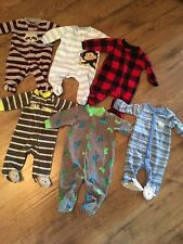 Baby Boys Fleece Pajamas~Nb & 0-3 Months~Lot Of 6~Ec~Carter's