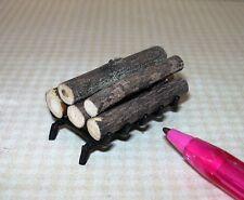 Miniature Black Fireplace Grate w/Loose Logs DOLLHOUSE Miniatures 1/12 Scale