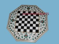 """18"""" MARBLE KIDS GAME COFFEE CORNER CENTER CHESS TABLE TOP INLAY MALACHITE"""