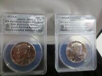 2014 P&D Kennedy Half Dollar 50th Anniversary ANACS SP69 2 Coin Set w/COA & Box