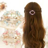 Women Fashion Flower Rhinestone Barrette Hairpin Hair Clip Crystal Clamp Girls