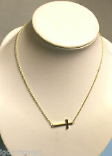 New Men's Women 18k Gold Finished Jesus Cross Crucifix Pendant Necklace