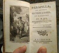 1784 EROTICA CHARLES BORDE 'PARAPILLA ET AUTRES OEUVRES LIBRES' BELLA LEGATURA
