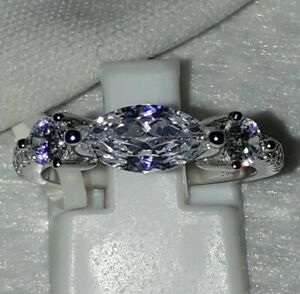 925 STERLING SILVER RHODIUM PLATED SAPPHIRE DRESS COCKTAIL RING 6 7 8 9