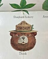 Vintage 1985 Smokey Bear leaves educational poster 20x30 think