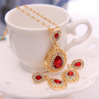 Beauty Gold Plated Crystal Necklace Earrings Wedding sets For Women Jewelry Set