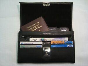 TRAVEL Document WALLET ORGANISER with lock for Passport etc. SOFT GRAIN PU