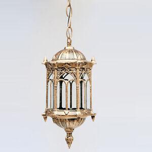 Outdoor Bronze Lantern Ceiling Pendant Lighting Garden Exterior Lamp Fixture