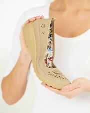 Cotton Traders Flexi Sole Loafers Wedge Heel's Beige Size UK 7 EU 41 NH088 BB 07