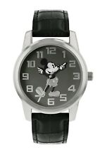 DISNEY MICKEY MOUSE UNISEX SILVER CASE BLACK LEATHER STRAP WATCH - MK1461