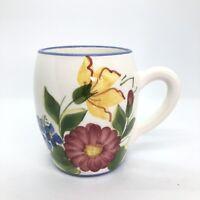 Vintage Studio Pottery Mug Handmade Hand Painted in Cyprus Mediterranean Signed