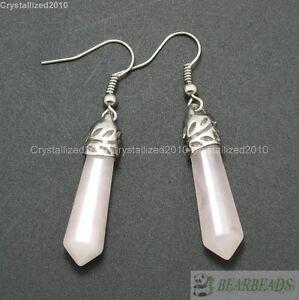 Natural Gemstone Hexagonal Pointed Reiki Chakra Healing Beads Silver Earrings