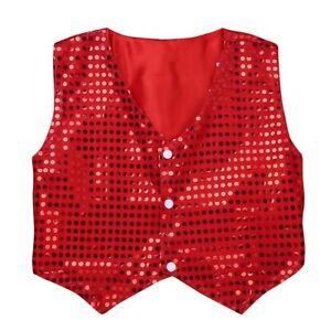 Sequined Sparkle Vest Waistcoat Dance Party Show Costumes Boys Kids Dance Wear