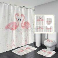 Flamingo Badezimmer Duschvorhang &3PC Podest Teppich + Wc Abdeckung +