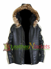 Star Wars Rogue One Real Fur Detachable Hood Black Real Leather Celebrity Jacket