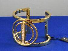 Vince Camuto Goldtone Pave' Bar Double Circle Wide Cuff Bracelet VJ1177 $68