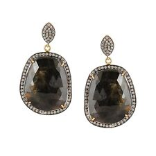 Attractive Handmade Gold Plated Silver Sapphire stone Dangle Earrings Jewelry AU