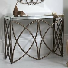 Vintage Mirrored Console Table Hallway Furniture Rustic Bronze Metal Frame