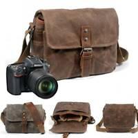 Waterproof Canvas Leather Trim DSLR SLR Shockproof Camera Messenger Shoulder Bag